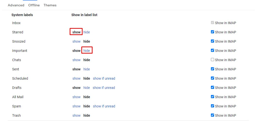 Show/Hide Gmail Labels from the sidebar