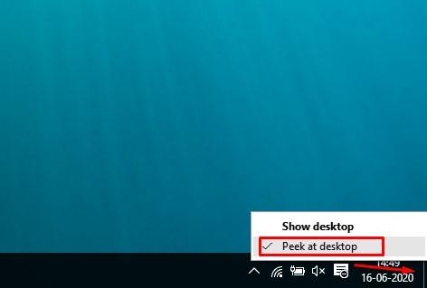 Using the Peek at Desktop Feature