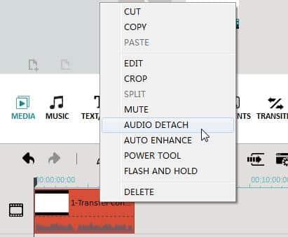 Select 'Audio Detach'