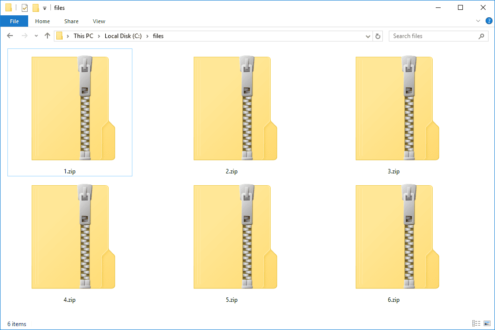 Compressing images as a ZIP file