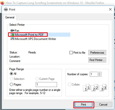Select 'Microsoft Print to PDF' under the Select Printer option