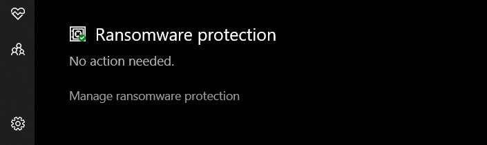 Click on the 'Manage Ransomware protection' option