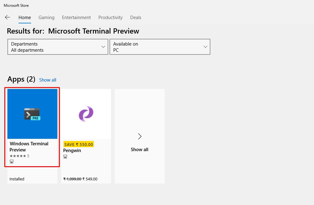 search for 'Windows Terminal Preview'