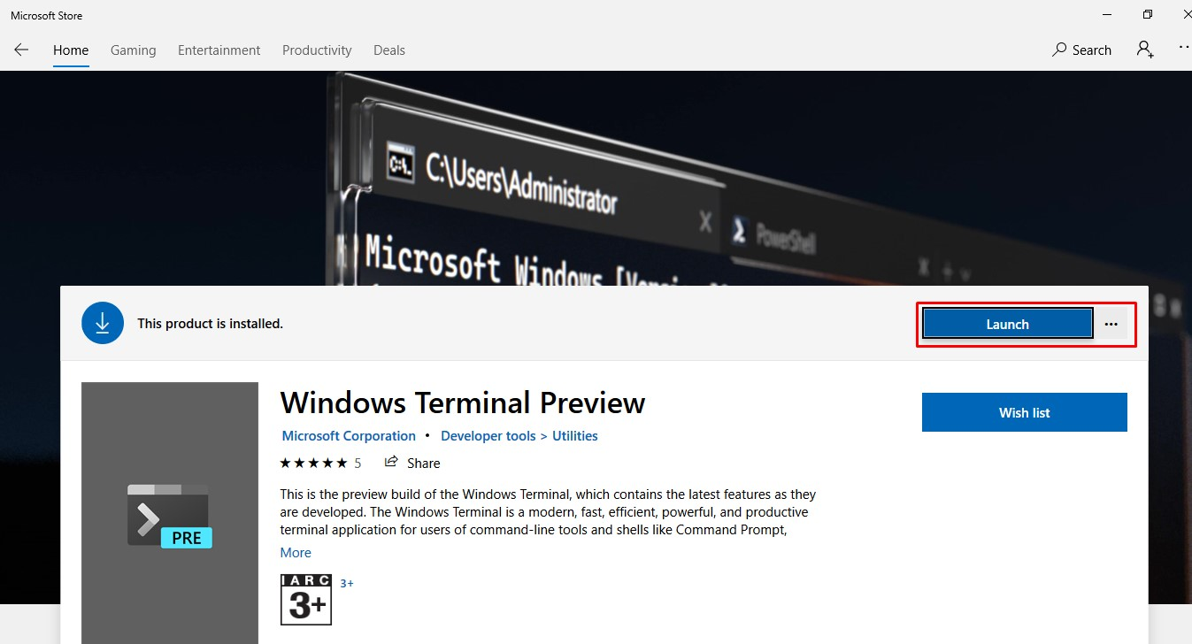 launch the Windows Terminal App