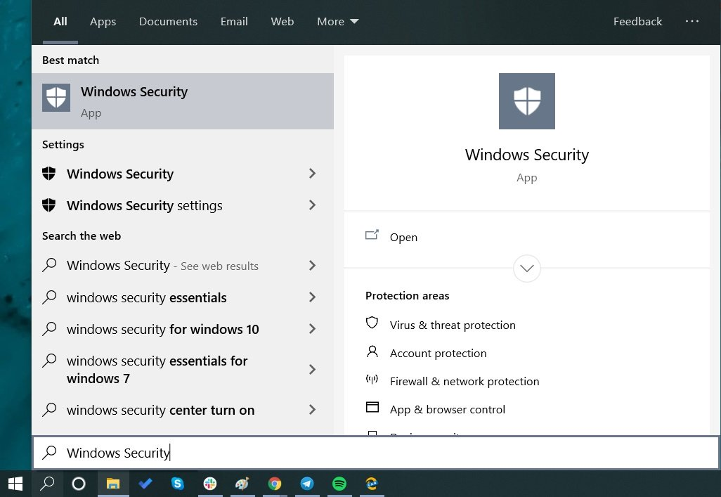 search for 'Windows security'