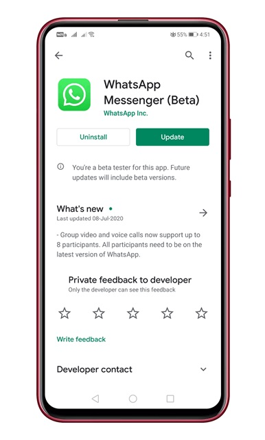 update the WhatsApp app
